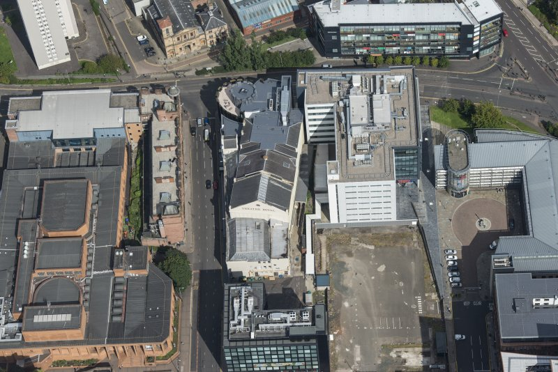 Oblique aerial view of the Theatre Royal, looking NNE.