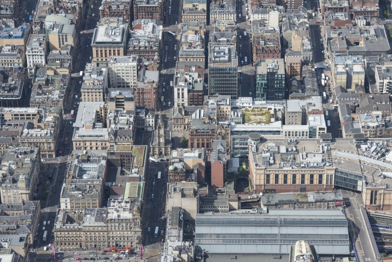 Oblique aerial view of central Glasgow, looking WNW.
