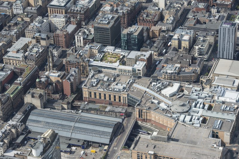 Oblique aerial view of central Glasgow, looking WSW.