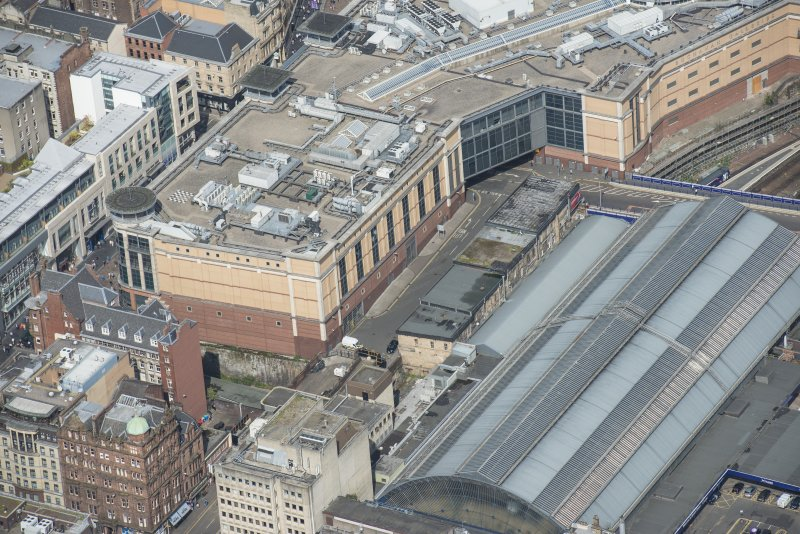 Oblique aerial view of the Britannia Building, looking NW.