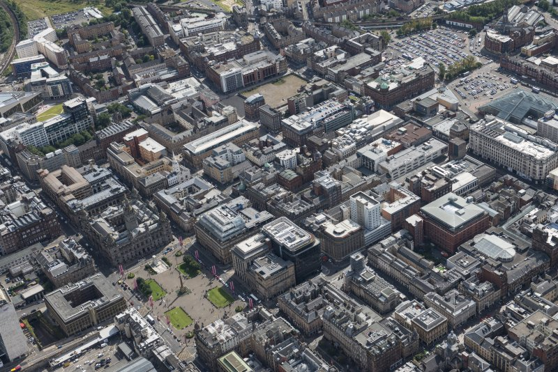Oblique aerial view of central Glasgow, looking SE.