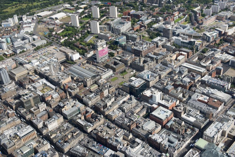 Oblique aerial view of central Glasgow, looking ENE.