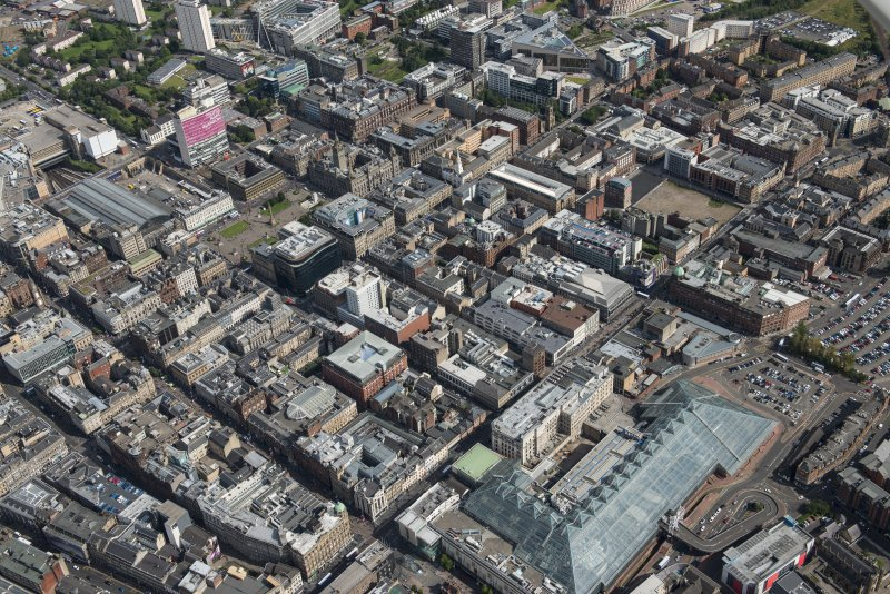 Oblique aerial view of central Glasgow, looking NE.