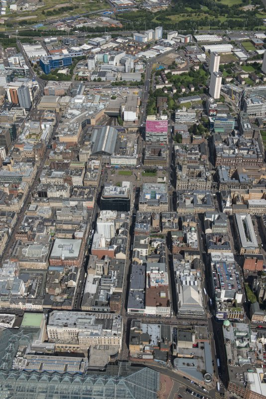 Oblique aerial view of central Glasgow, looking NNE.