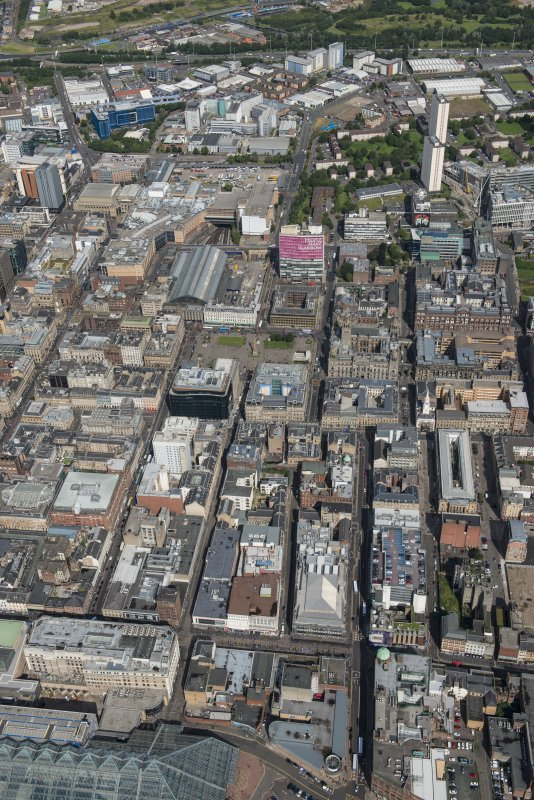 Oblique aerial view of central Glasgow, looking N.