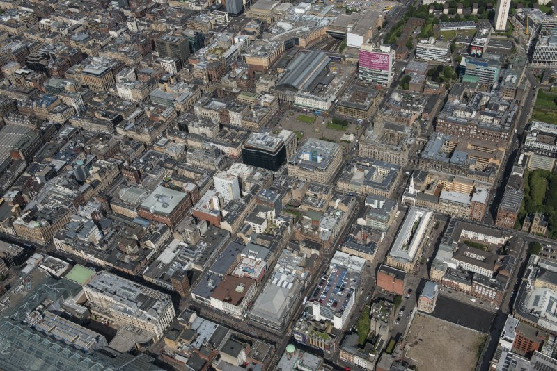 Oblique aerial view of central Glasgow, looking NNW.