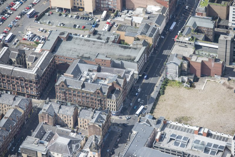 Oblique aerial view of the Britannia Music Hall, looking W.