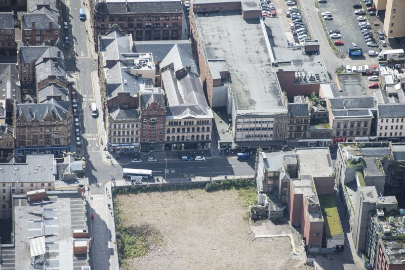 Oblique aerial view of the Britannia Music Hall, looking NW.