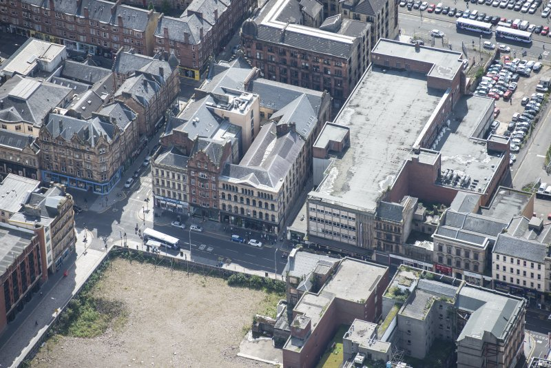 Oblique aerial view of the Britannia Music Hall, looking S.
