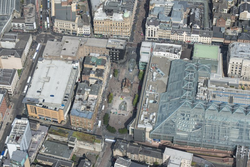 Oblique aerial view of St Enoch Square and Subway Station, looking N.