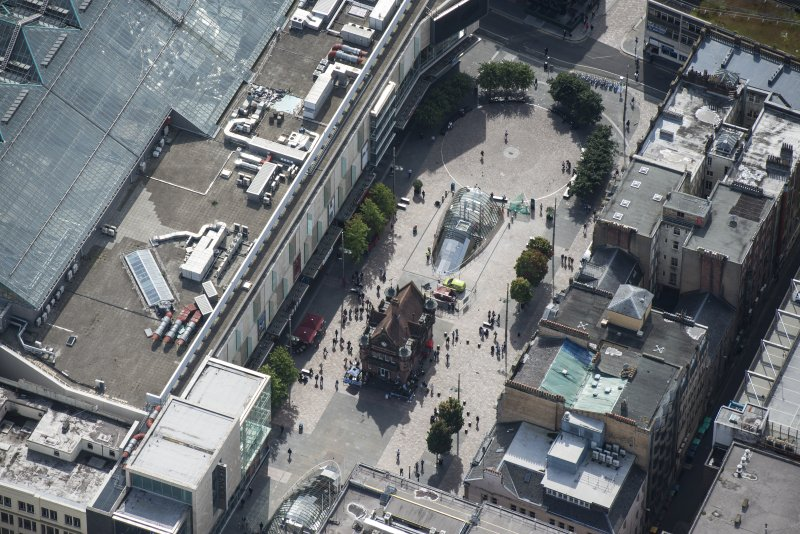 Oblique aerial view of St Enoch Square and Subway Station, looking SSE.