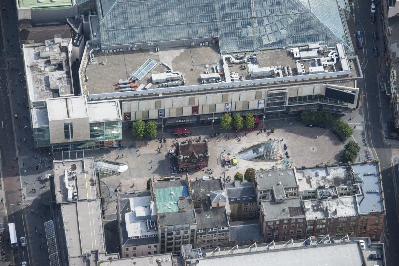 Oblique aerial view of St Enoch Square and Subway Station, looking ESE.
