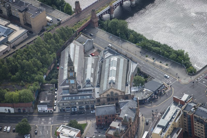 Oblique aerial view of Bridgegate Fishmarket, looking S.