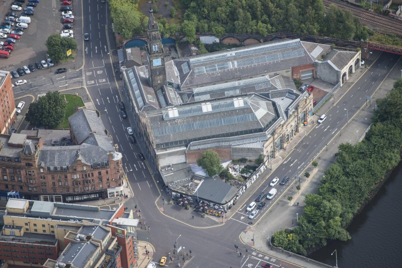 Oblique aerial view of Bridgegate fish market, looking E.