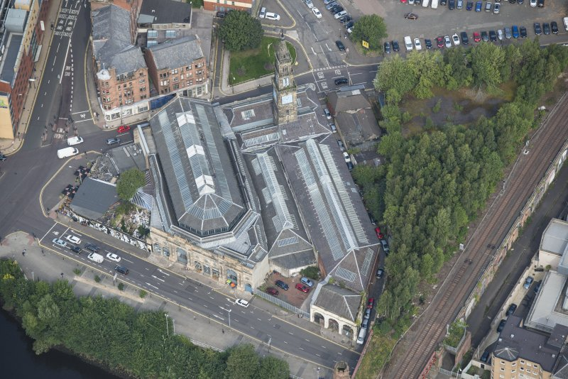 Oblique aerial view of Bridgegate fish market, looking N.
