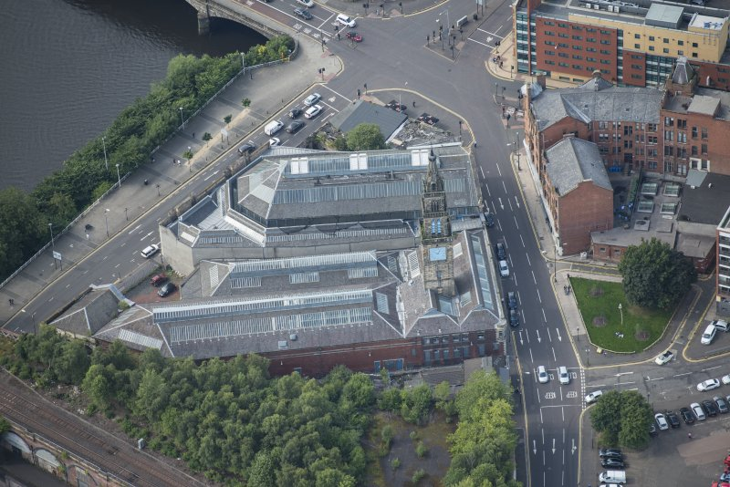 Oblique aerial view of Bridgegate fish market, looking WSW.