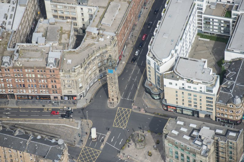 Oblique aerial view of the Trongate Tolbooth Steeple, looking N.