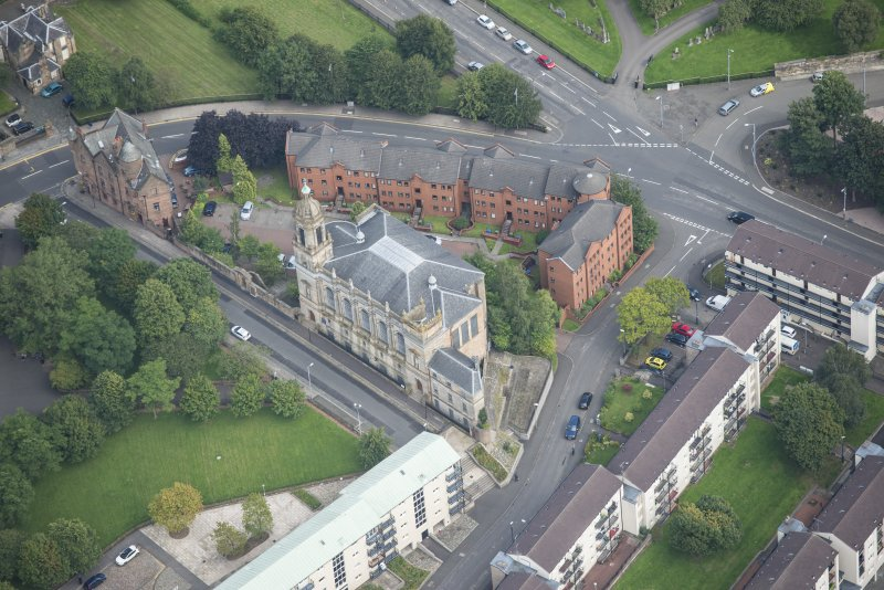 Oblique aerial view of Barony North Church, looking ENE.