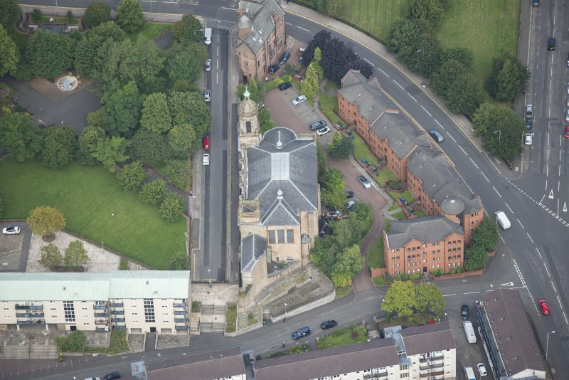 Oblique aerial view of Barony North Church, looking N.