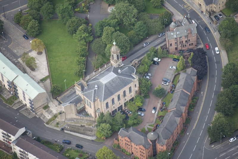 Oblique aerial view of Barony North Church, looking NW.