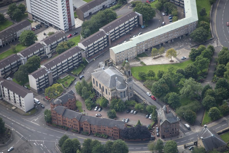 Oblique aerial view of Barony North Church, looking SSW.