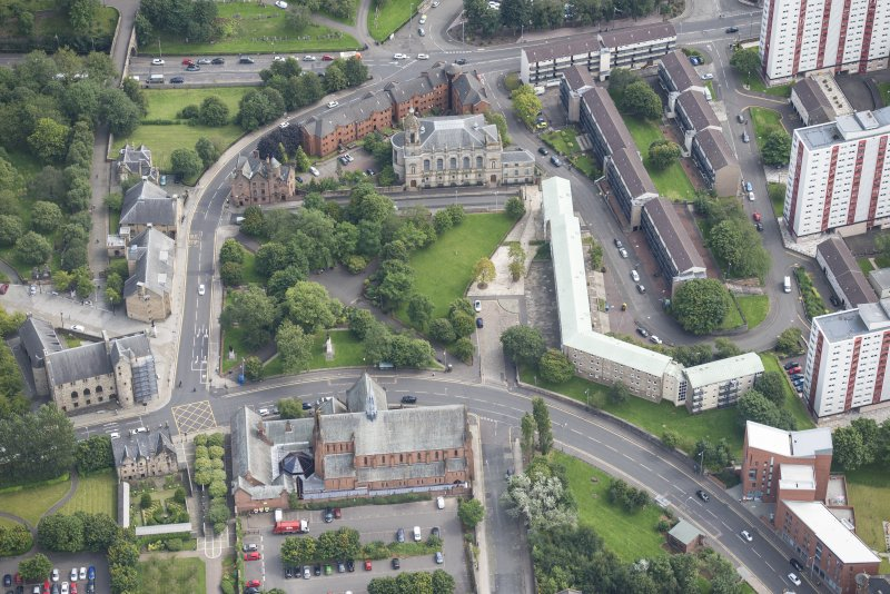 Oblique aerial view of Barony Parish Church and Barony North Church, looking ESE.