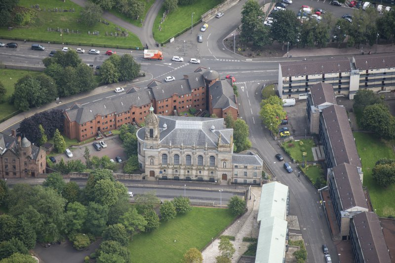 Oblique aerial view of Barony North Church, looking E.