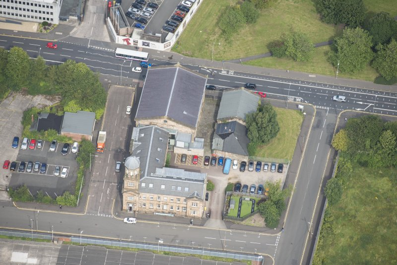 Oblique aerial view of Kirkhaven Church, looking N.