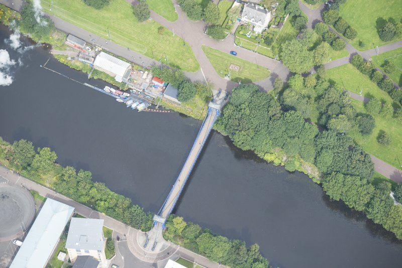 Oblique aerial view of St Andrew's Suspension Bridge, looking NE.