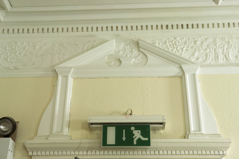 Interior. Detail of frieze and pediment.