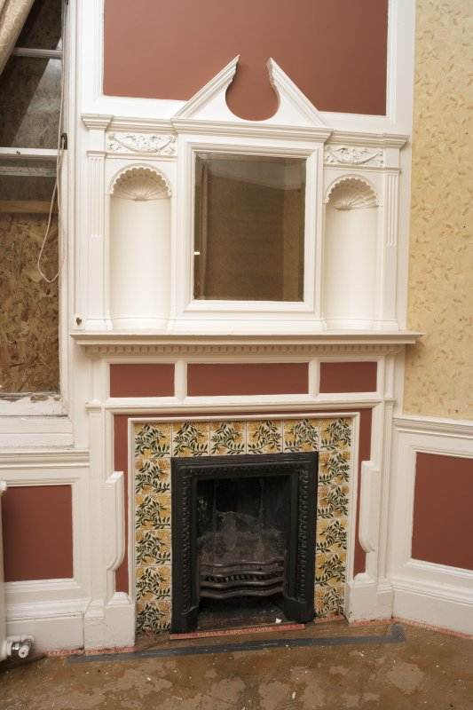 Interior. Detail of fireplace in room 4.