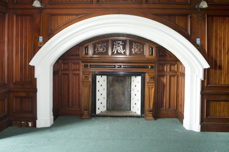 Interior. Detail of fireplace in the first floor dining room.