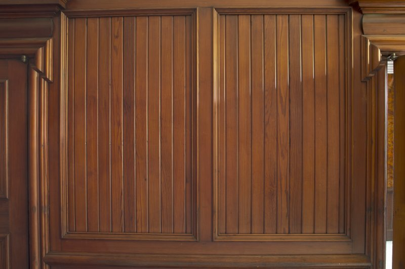 Interior. Detail of wooden panel in the first floor dining room.