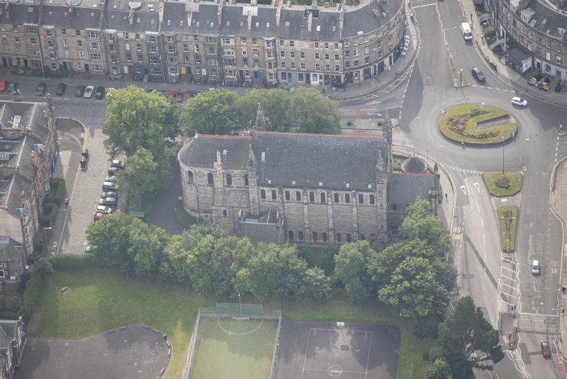 Oblique aerial view of East London Street Catholic Apostolic Church, looking SSE.