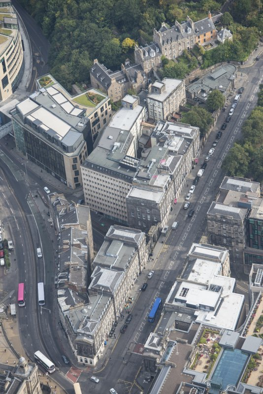 Oblique aerial view of Leith Street and Waterloo Place, looking NE.