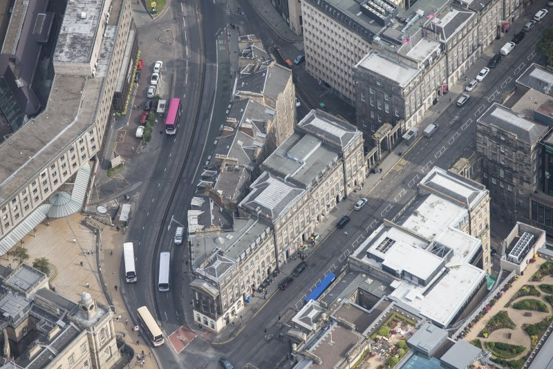 Oblique aerial view of Leith Street and Waterloo Place, looking NNE.