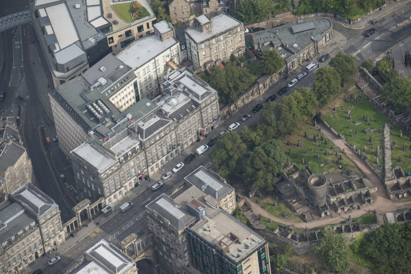 Oblique aerial view of Waterloo Place, looking NNE.