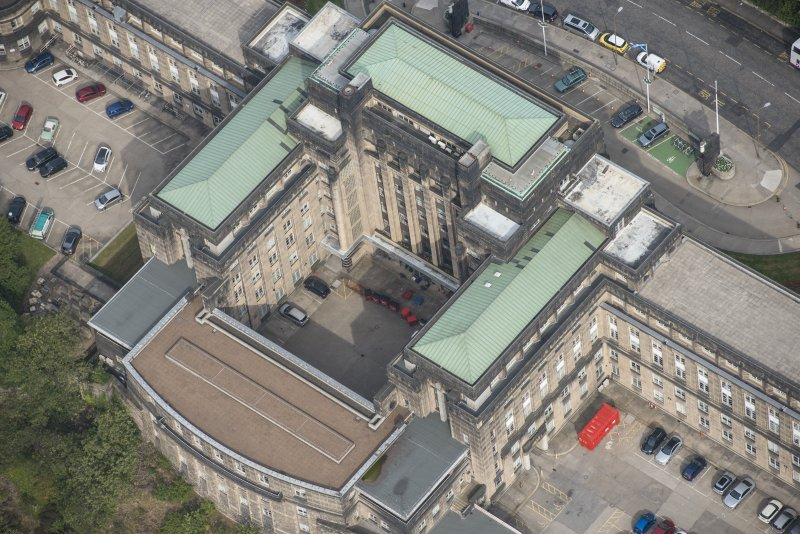 Oblique aerial view of St Andrew's House, looking NNW.