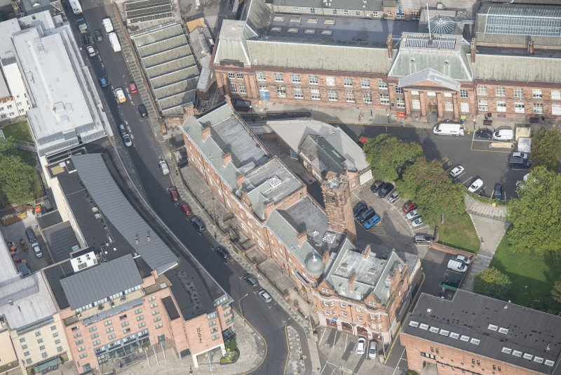 Oblique aerial view of Edinburgh College of Art and Edinburgh Fire  Brigade Station, looking N.