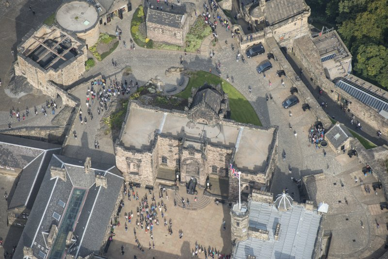 Oblique aerial view of Edinburgh Castle centred on the Scottish National War Memorial, Edinburgh Castle, looking NNW.