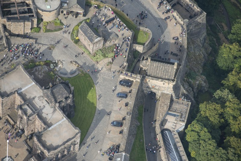 Oblique aerial view of Edinburgh Castle centred on the Forewall Battery, looking NW.