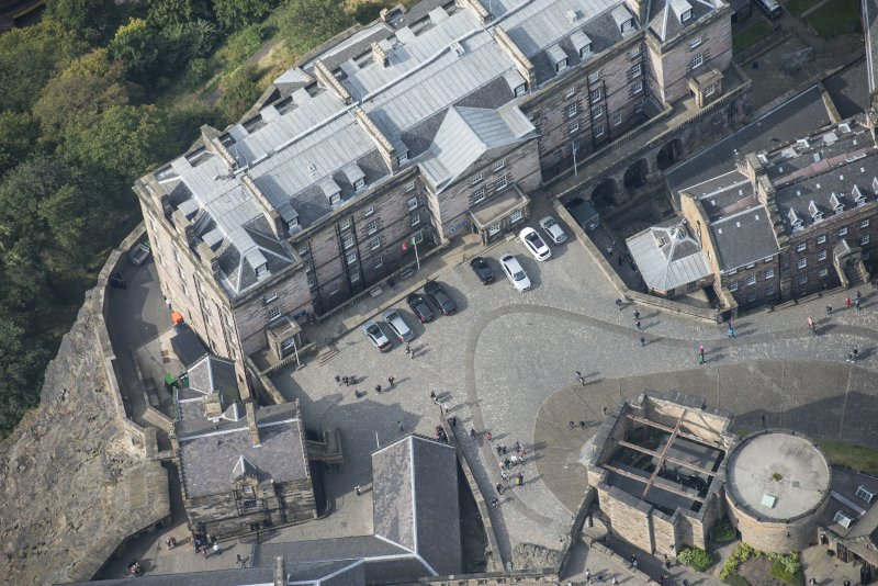 Oblique aerial view of the New Barracks and Military Prison at Edinburgh Castle, looking W.