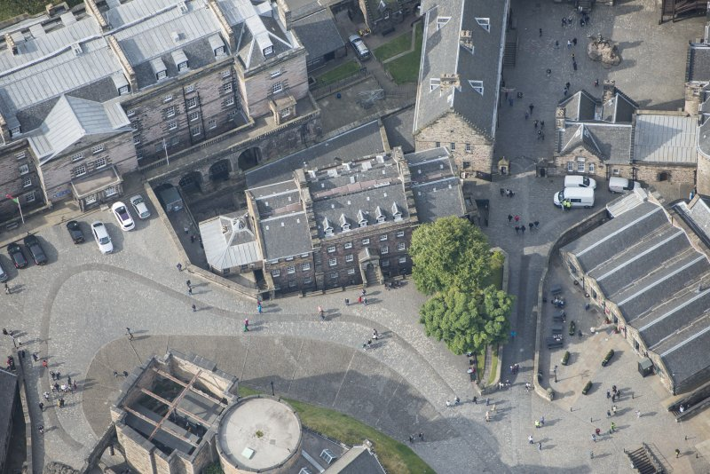 Oblique aerial view centred on the Governor's House, Edinburgh Castle, looking WSW.