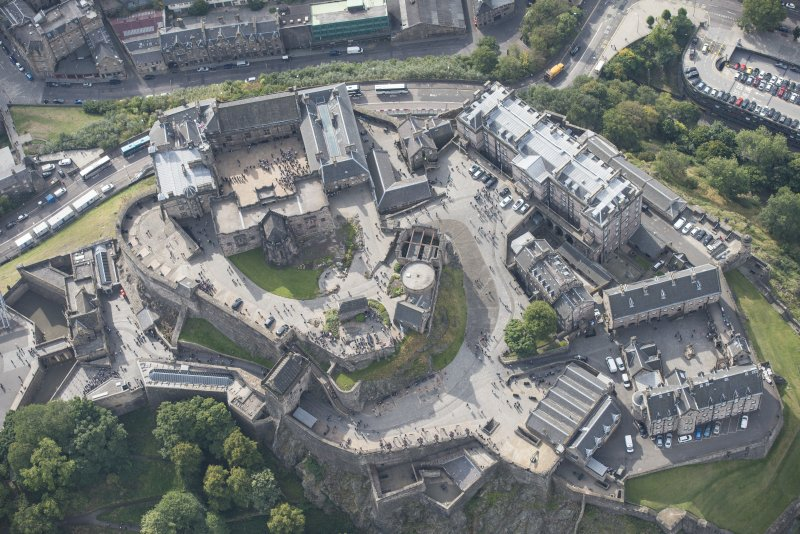Oblique aerial view of Edinburgh Castle,  looking S.