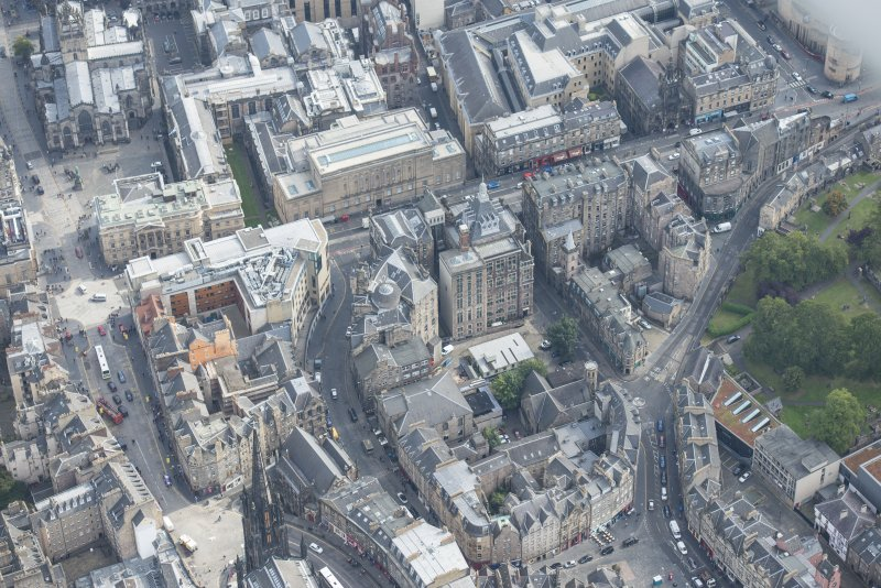 Oblique aerial view of Bank Street, Victoria Street and West Bow, looking E.