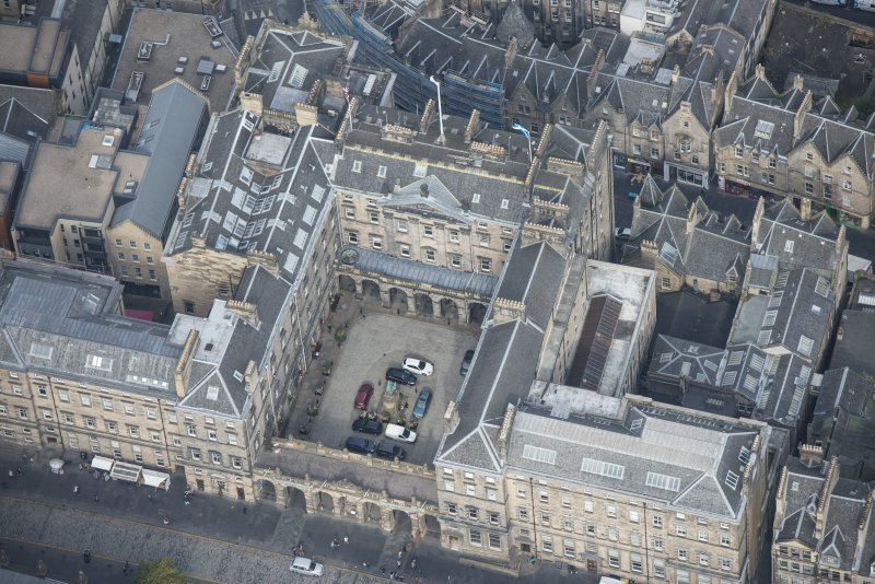 Oblique aerial view of the City Chambers, looking NW.