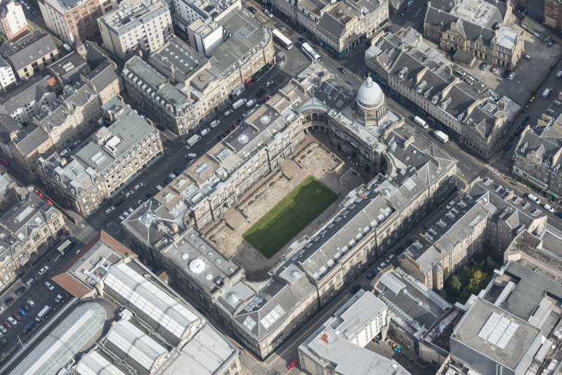 Oblique aerial view of Old College, University of Edinburgh, looking NE.