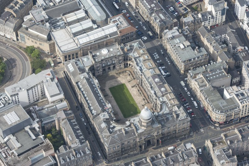 Oblique aerial view of Old College, University of Edinburgh, looking WNW.
