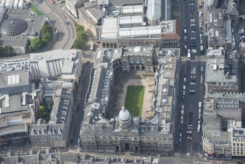 Oblique aerial view of Old College, University of Edinburgh, looking WSW.