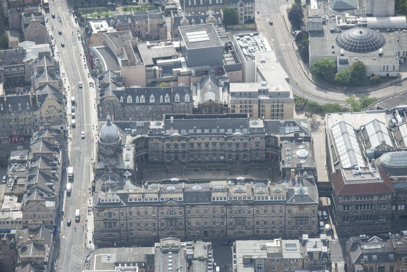 Oblique aerial view of Old College, University of Edinburgh, looking S.